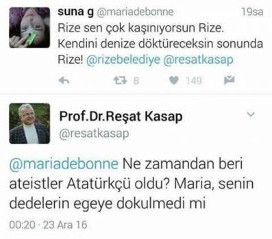 Rize Belediye Başkanı Reşat Kasap, kaldırılmayan, sadece yer değiştirilen Atatürk heykeliyle ilgili ağır hakaretlere uğradı.  Rize Cumhuriyet Meydanı'nda bulunan Atatürk heykeli Valilik binası önüne taşındı. Bunun ardından birçok yorum yapılırken, Rize Belediyesi Başkanı Kasap'ın sosyal medyadan bir takipçisine verdiği yanıt çok konuşuldu.