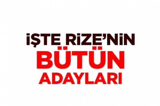 Rize'nin bütün belediye başkan adayları