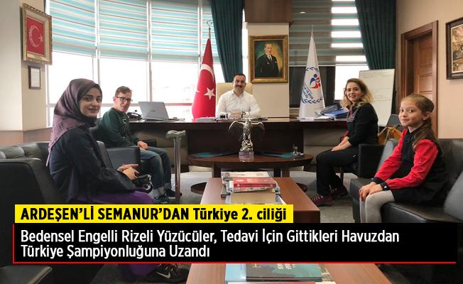 Ardeşen'li Semanur dan Türkiye 2.ciliği Madalyası