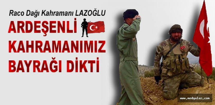 Ardeşenli Murat Kutanis Raco Dağına bayrağı dikti.