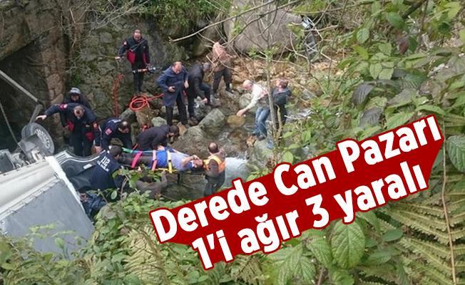 Feci Kaza Derede Can Pazarı: 1'i ağır 3 yaralı