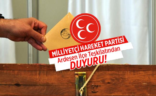 MHP Ardeşen İlçe Başkanı Esirgemez'den Teşekkür mesajı