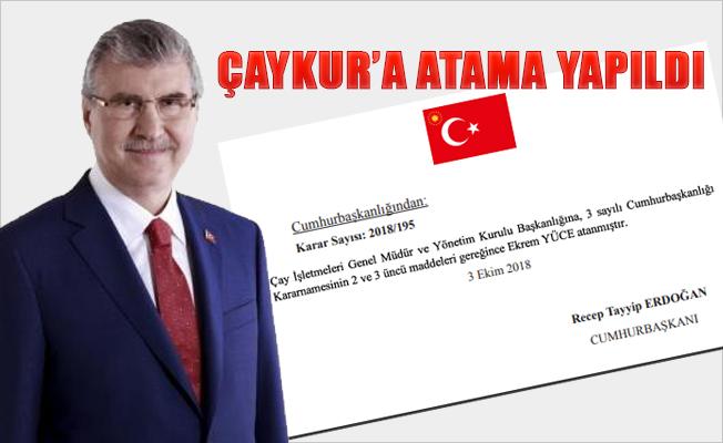 ÇAYKUR Genel Müdürlüğüne Ekrem Yüce Atandı.