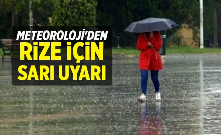 Dikkat! Meteoroloji'den Rize İçin Sarı Uyarı