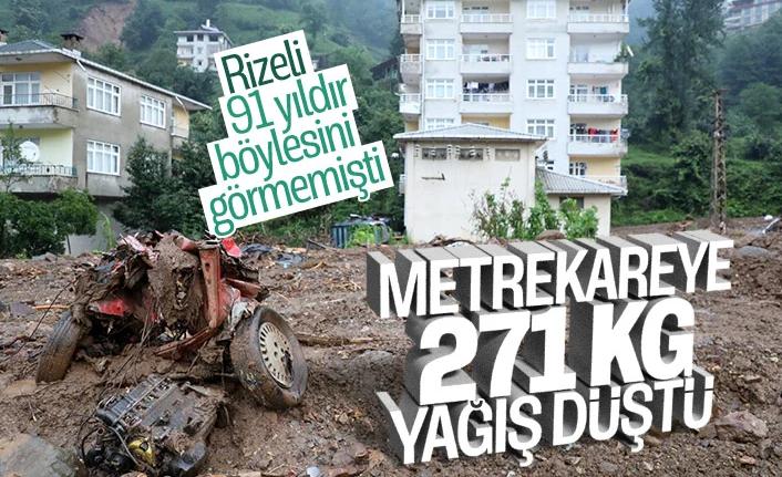 Rize'deki yağışlarda son 91 yılın rekoru kırıldı